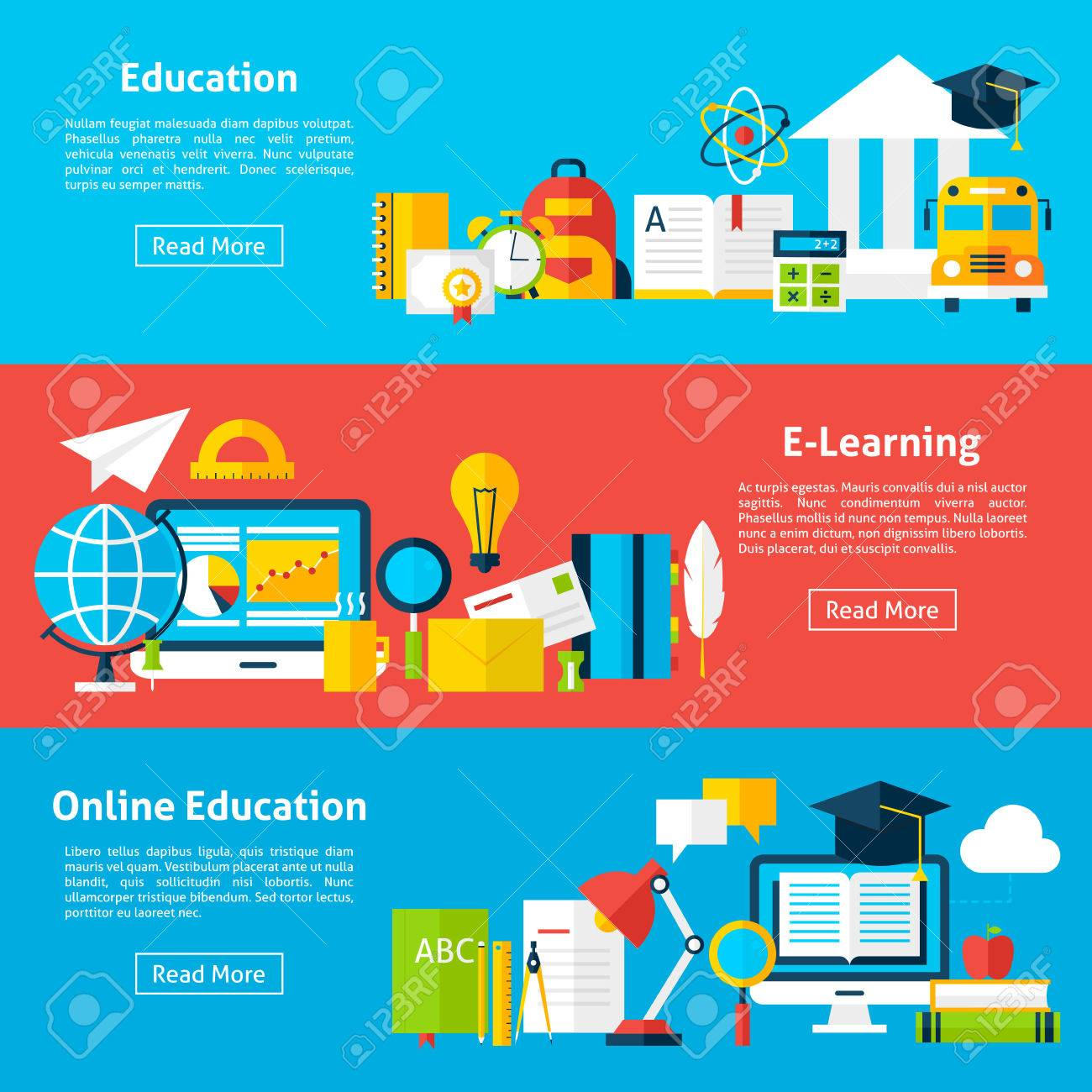 Online Education And Electronic Learning Flat Horizontal Banners A Educational Society